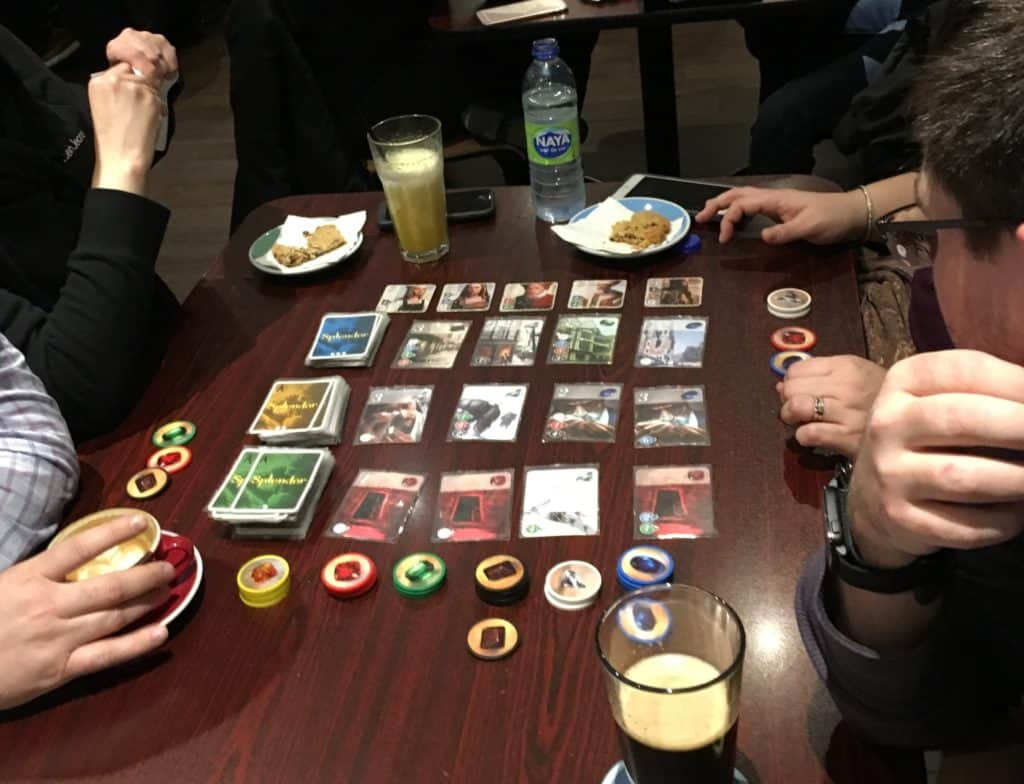 playing splendor at snakes and lattes