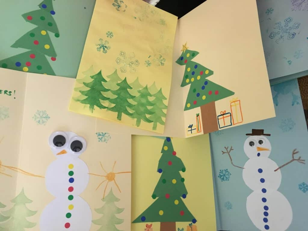 DIY holiday card with kids