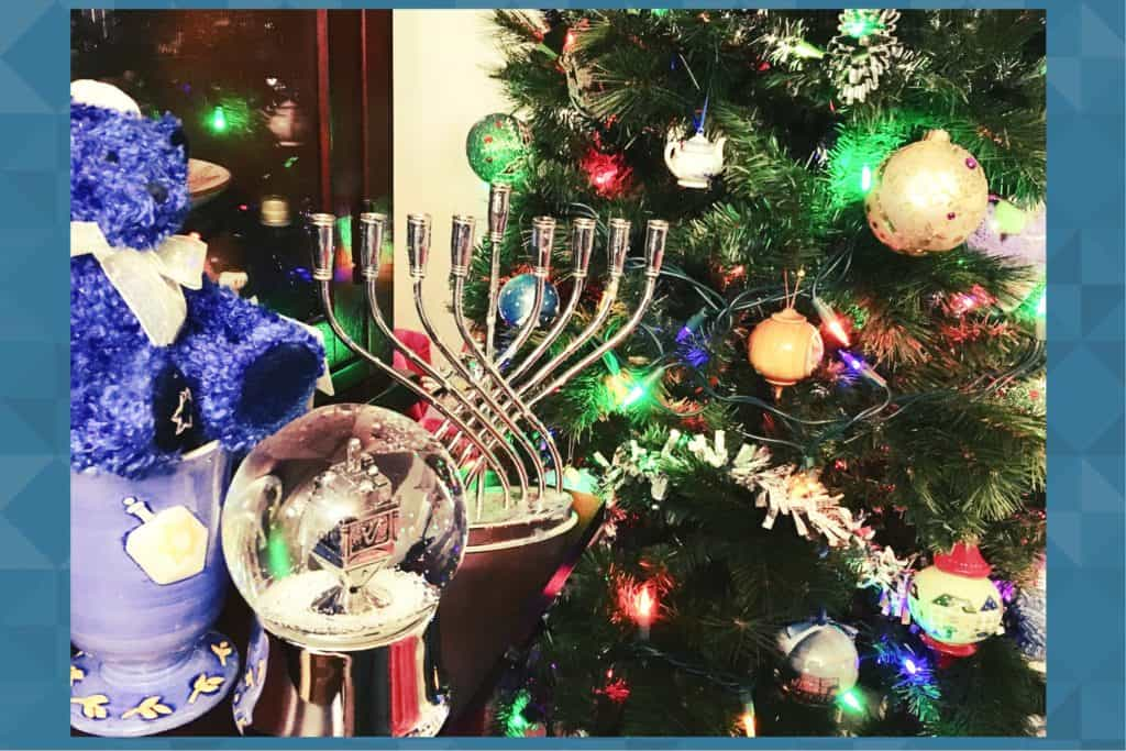 Chrismukkah tree and menorah
