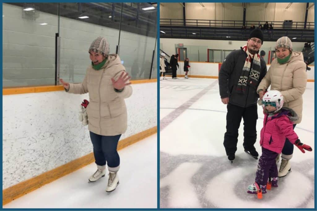 Learning skating with patience in the rink