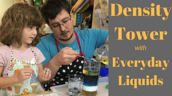 STEM Activity density tower with everyday liquids